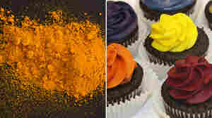 Turmeric, on left, was used to make the yellow in the cupcakes on the right.
