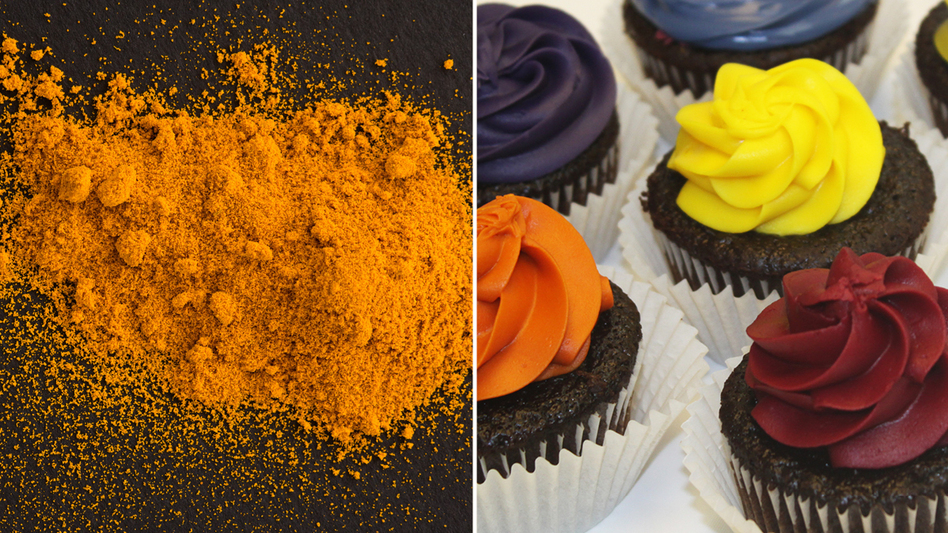 Turmeric, on left, was used to make the yellow in the cupcakes on the right. (NPR; Courtesy of colorMaker Inc.)