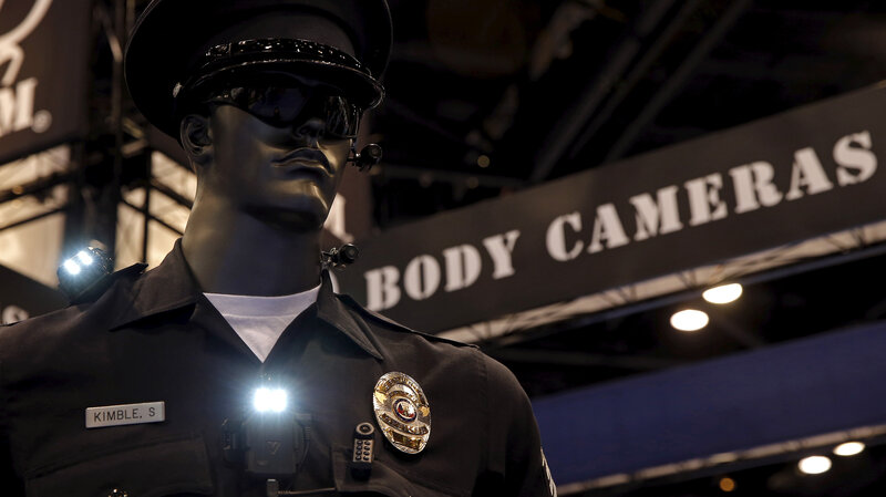Police body cameras are seen on a mannequin at an exhibit booth by manufacturer Wolfcom at the International Association of Chiefs of Police conference in Chicago, on Oct. 26. (Jim Young/Reuters/Landov)