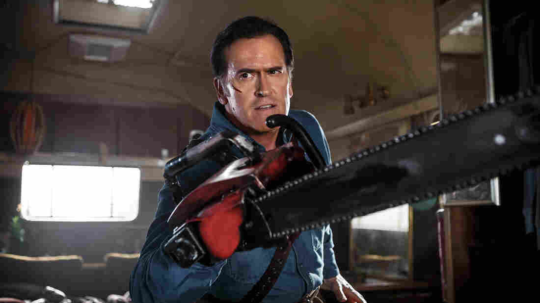 Bruce Cambpell — and his famous chainsaw — are back in the new series Ash Vs Evil Dead.