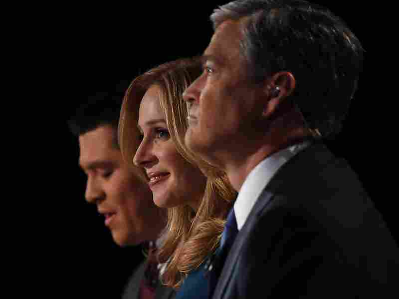 "CNBC debate moderators Carl Quintanilla (from left), Becky Quick and John Harwood were widely panned for their questions. The RNC is the latest critic, calling them ""inaccurate or downright offensive."""