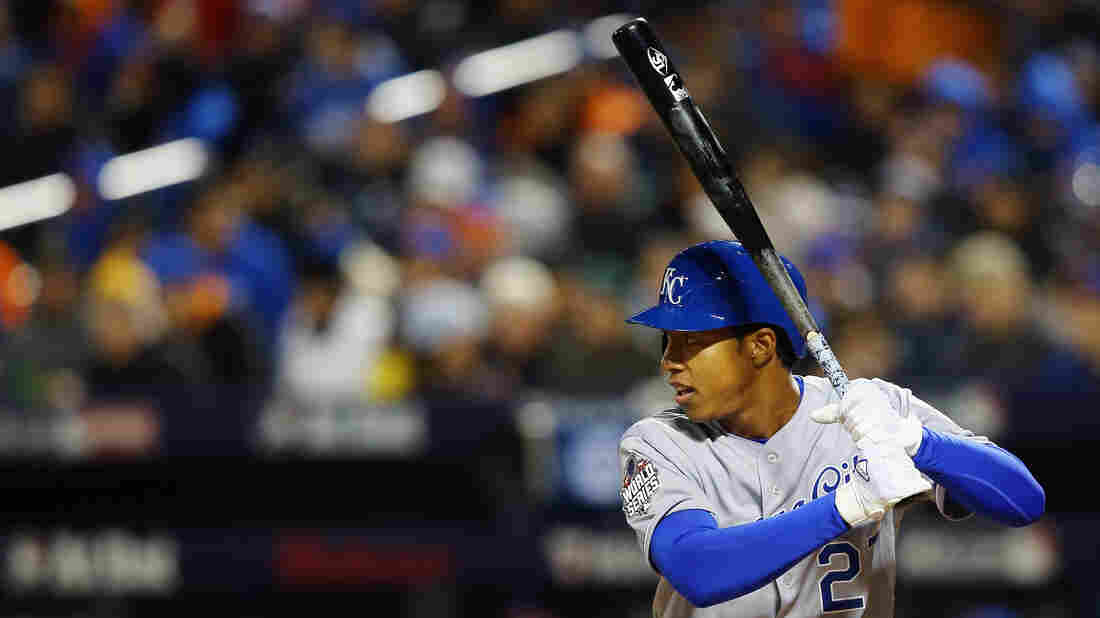 Raul Mondesi of the Royals bats in the fifth inning.