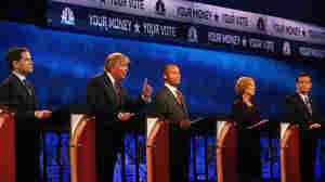 Presidential candidate Donald Trump speaks while Sen. Marco Rubio, Ben Carson, Carly Fiorina and Sen. Ted Cruz look on during the CNBC Republican Presidential Debate at in Boulder, Colorado, on Wednesday.