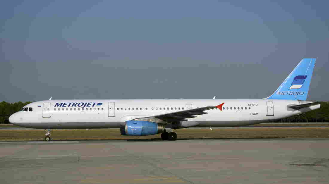 The Metrojet Airbus A-321 with registration number EI-ETJ that crashed in Egypt's Sinai Peninsula is seen here last month, at an airport in Turkey. The Russian airliner crashed while carrying 224 passengers and crew, the Egyptian civil aviation authority says.