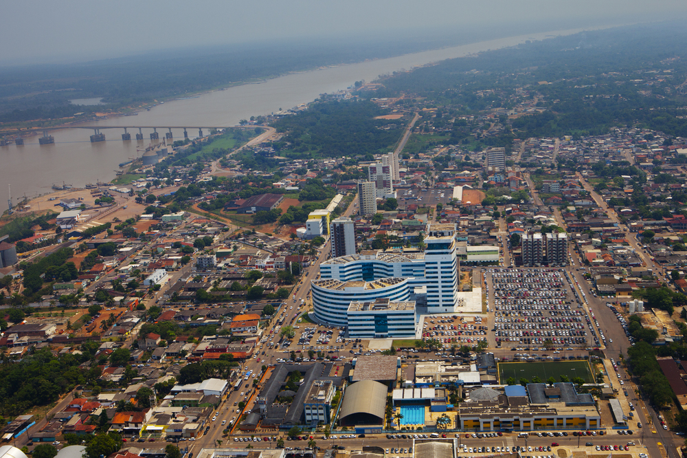 Porto Velho is the capital of the western Brazilian state of Rondonia. The gray buildings in the center of the photo are government offices built when Ivo Cassol was the governor. They spell out his initials,