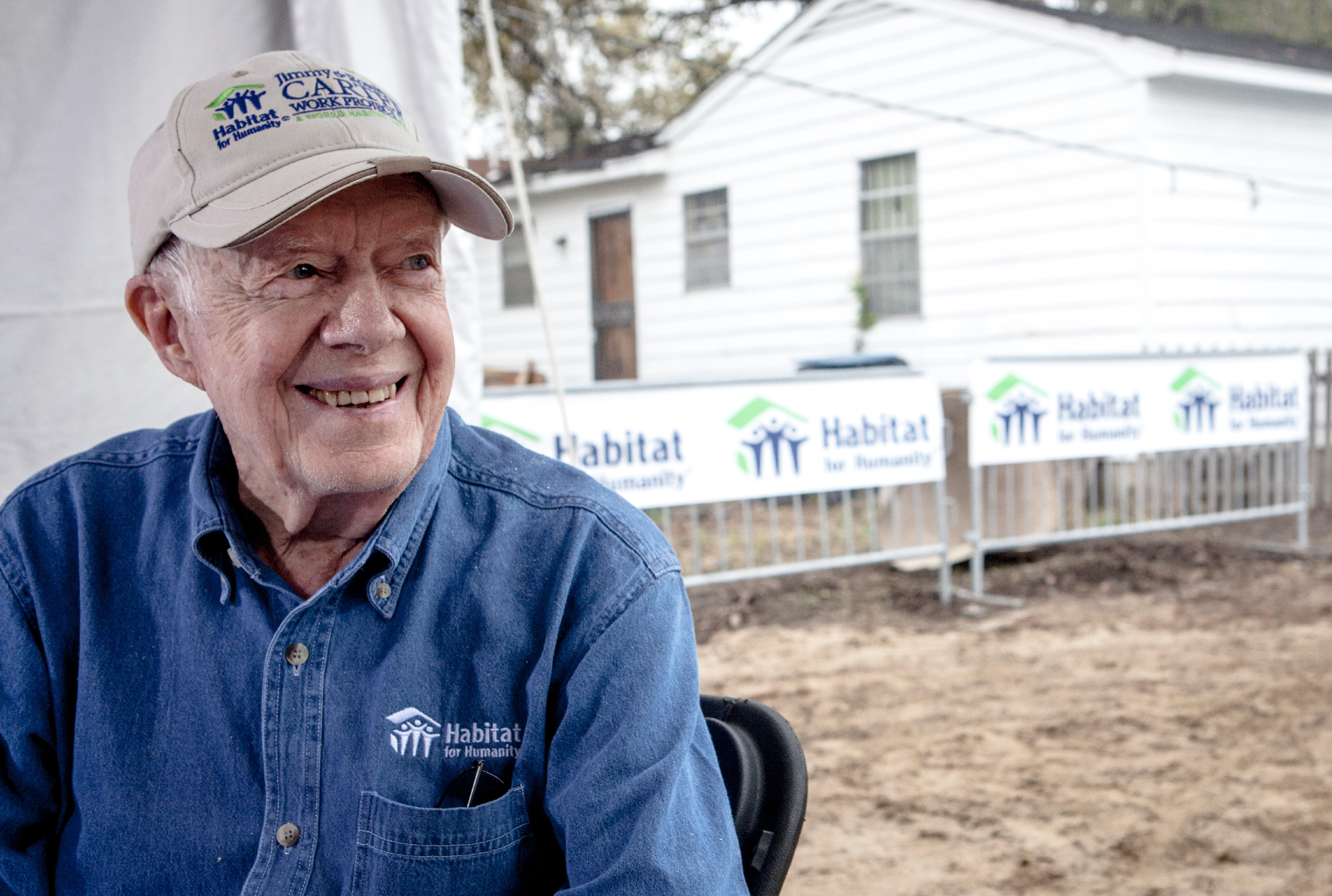 Former President Jimmy Carter at a Habitat for Humanity site in Memphis.