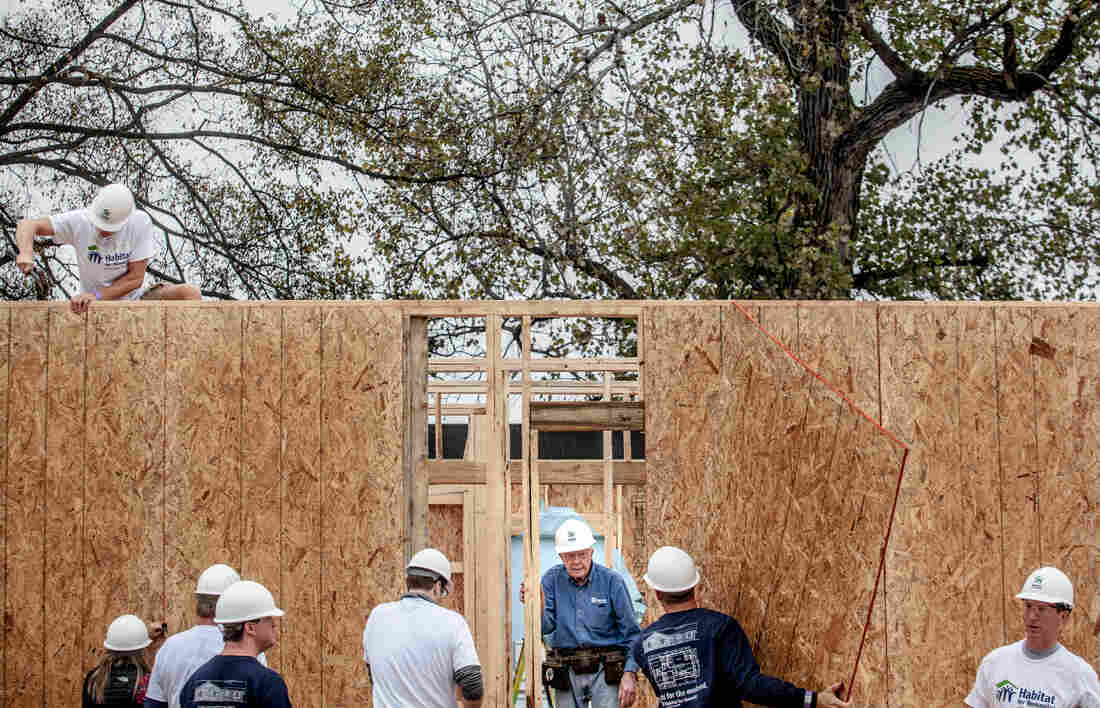 """Former President Jimmy Carter at a Habitat for Humanity site in Memphis on Monday. He says: """"I would have probably been in Myanmar now, which used to be Burma, had my problem with cancer not come up."""""""