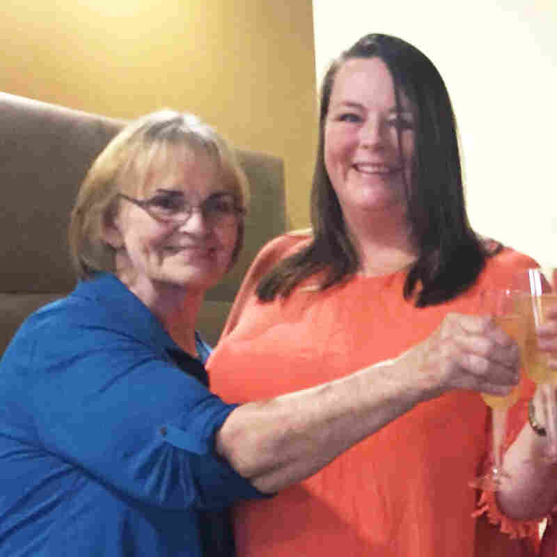 Dana Bowerman's family and best friend joined her to celebrate her release with sparkling grape juice Monday: Bowerman's mother, Rose West (from left); Bowerman, sister Paula Bailey, friend Michelle Elliott, stepfather Dwayne West.