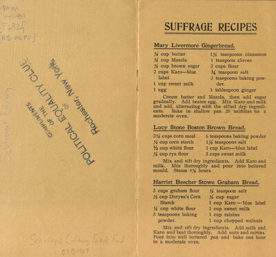 "Recipes from the Woman Suffrage Cook Book, including one for ""Graham Bread"" attributed to Harriet Beecher Stowe, the author of Uncle Tom's Cabin. Beecher Stowe's sister Isabella Beecher Hooker was a founder of the National Woman Suffrage Association."