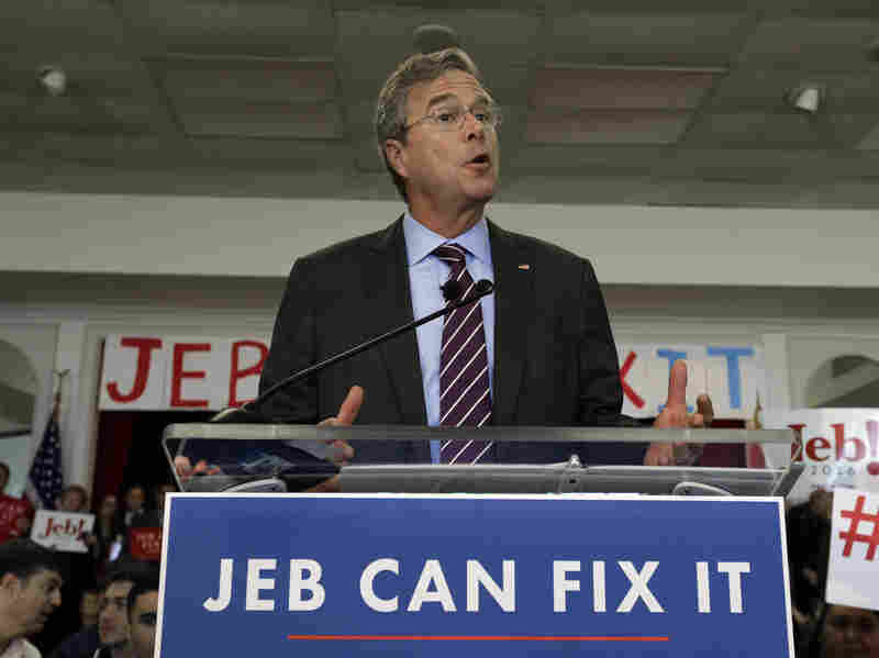 Republican presidential carefree Jeb Bush speaks during a convene Monday in Tampa, Fla. He owns his new slogan, though jebcanfixit.com belongs to someone else.