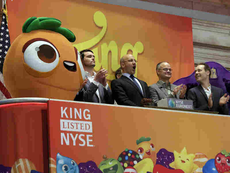 King Digital Entertainment CEO Riccardo Zacconi (second from the left) celebrated at the New York Stock Exchange on March 26, 2014, the day his company went public.