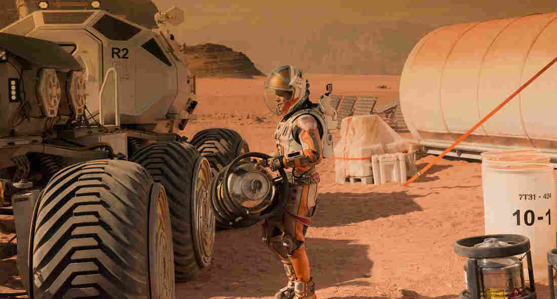 Actor Matt Damon colonizes Mars in the movie The Martian.