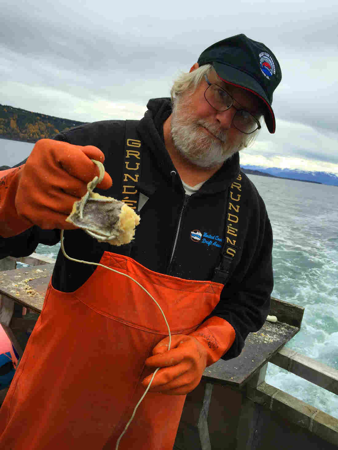 David Fry holds a hook, hoping for some halibut.
