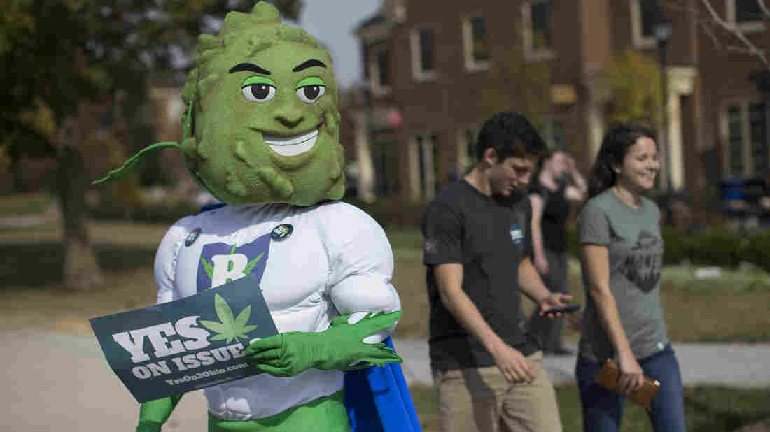 Buddie, the mascot for the pro-marijuana legalization group ResponsibleOhio, waits on a sidewalk to greet passing college students during a promotional tour at Miami University of Ohio last month.