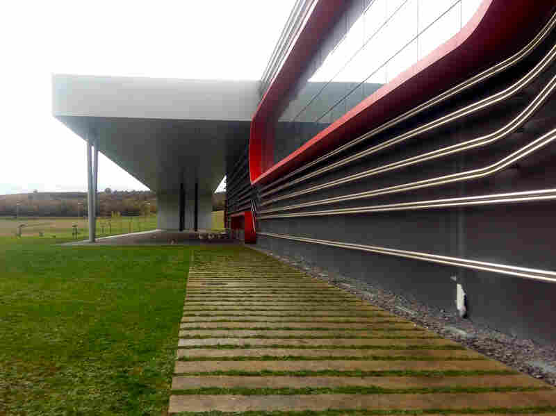 Outside of the abandoned headquarters of Epsilon Euskadi, one of the companies tasked with building the Hiriko car in Spain. The consortium's parent company, Afypaida, went out of business in 2013. Several sources told NPR that the Hiriko prototype was kept here, in an industrial park outside the Basque city of Vitoria-Gasteiz. But the building is empty now.