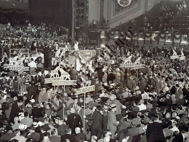 Delegates gather for the 1940 Republican National Convention in Philadelphia, Penn.