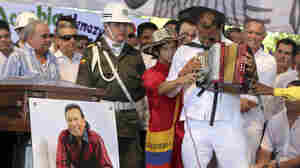 After the funeral in 2013 for popular folk music star Diomedes Diaz, fellow musicians including accordionist Andres Gil performed in homage to him. Now Colombia's Congress is considering a bill to honor Diaz.