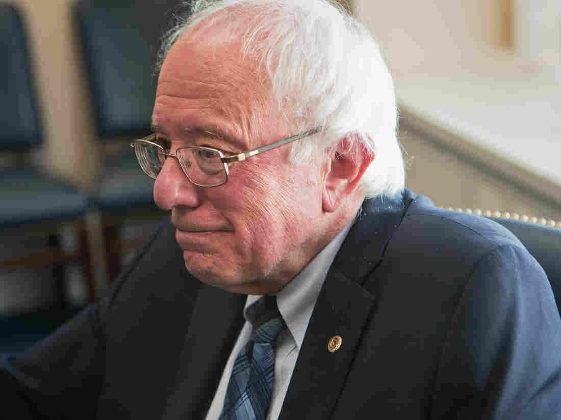 Presidential candidate Sen. Bernie Sanders, I-Vt., speaks with NPR's Steve Inskeep in his Senate office on Nov. 4, in Washington, D.C.