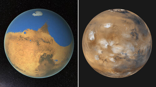 Left: An artist's conception of early, wet Mars. Right: Modern-day Mars is dry and cold. (NASA/GSFC; NASA/JPL/MSSS)