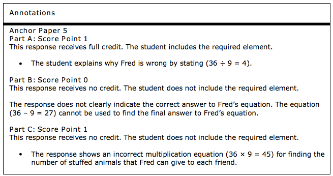 Answer logic from the 2015 PARCC exam.