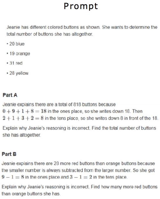 Actual prompt from the 2015 PARCC third grade math exam.