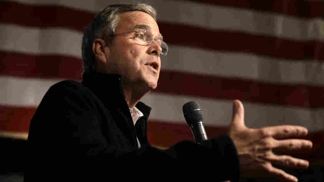 Republican presidential candidate, former Florida Gov. Jeb Bush, addresses an audience at a campaign event held in Rye, N.H.