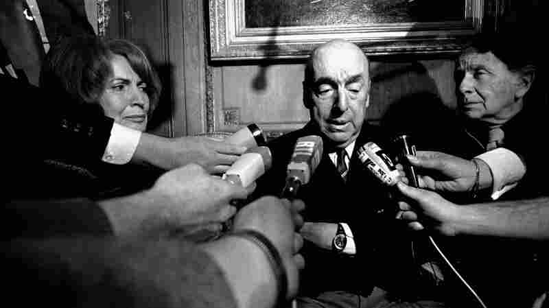 Poet Pablo Neruda talks with reporters Oct. 21, 1971, in Paris after being awarded that year's Nobel Prize for Literature.