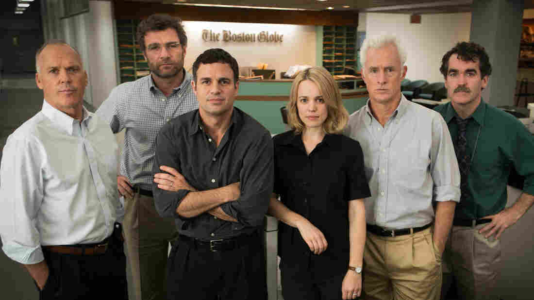 Michael Keaton, Liev Schreiber, Mark Ruffalo, Rachel McAdams, John Slattery and Brian D'Arcy James are members of the Boston Globe investigation team that uncovers a sex-abuse scandal involving the Catholic Church in the film, Spotlight.