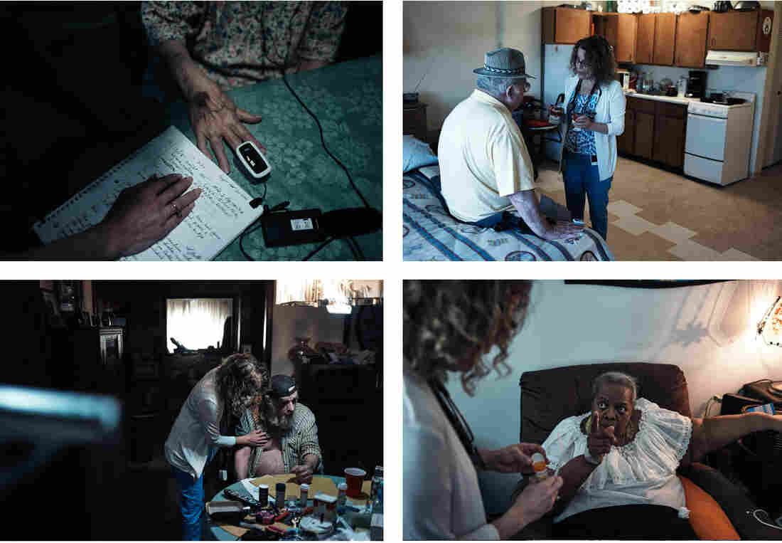 Miller (clockwise from upper left) checks what her patient Calla Osborne, 92, had to eat by reading notes kept by Osborne's daughter; Miller explains to John Toombs, 78, that canned soup can be high in sodium; Divina Gaskin, 71, tells Miller about the side effects of her pills; Miller checks in on Gordon Laymon, 76, who lives alone.