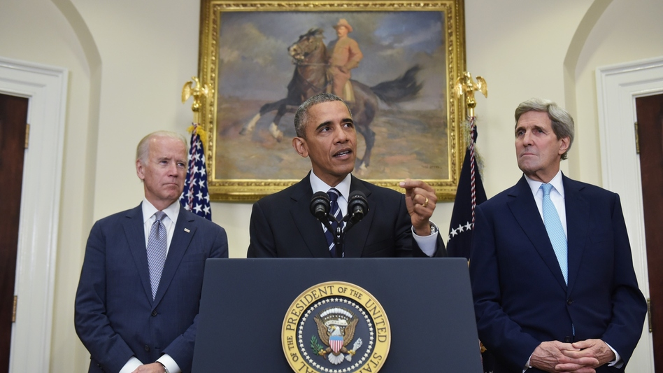 President Obama, flanked by Secretary of State John Kerry (right) and Vice President Joe Biden, announced the Keystone XL pipeline decision Friday in the Roosevelt Room of the White House. (Mandel Ngan/AFP/Getty Images)