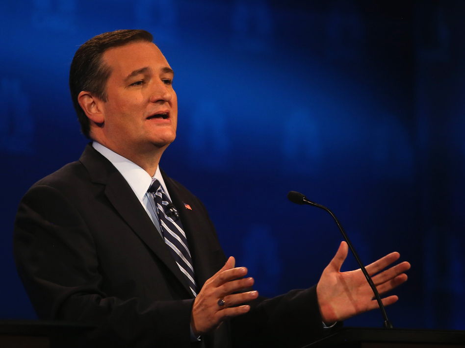 Presidential candidate Sen. Ted Cruz (R-TX) speaks during the CNBC Republican Presidential Debate at University of Colorado's Coors Events Center on Oct. 28, 2015 in Boulder, Colorado. (Justin Sullivan/Getty Images)