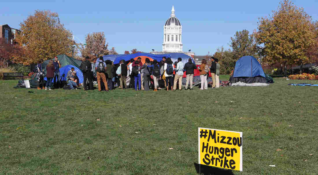 Students gather on the University of Missouri campus on Saturday to show support for a student who is holding a hunger strike over racial issues on the campus.