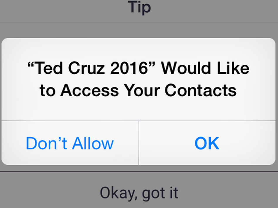 With permission, the Cruz campaign's app searches for potential supporters within users' phones (Scott Detrow/NPR)