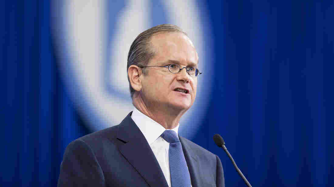 Former Democratic presidential candidate Lawrence Lessig speaks at the New Hampshire Democratic Party State Convention on Sept. 19. Lessig has ended his long-shot bid — but he says he's not done fighting for reform.