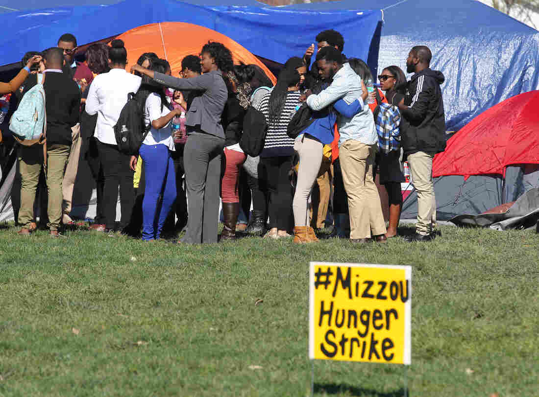 Students gather on the University of Missouri campus to show support for Jonathan L. Butler, the 25-year-old graduate student who is holding a hunger strike on campus in Columbia, Mo.