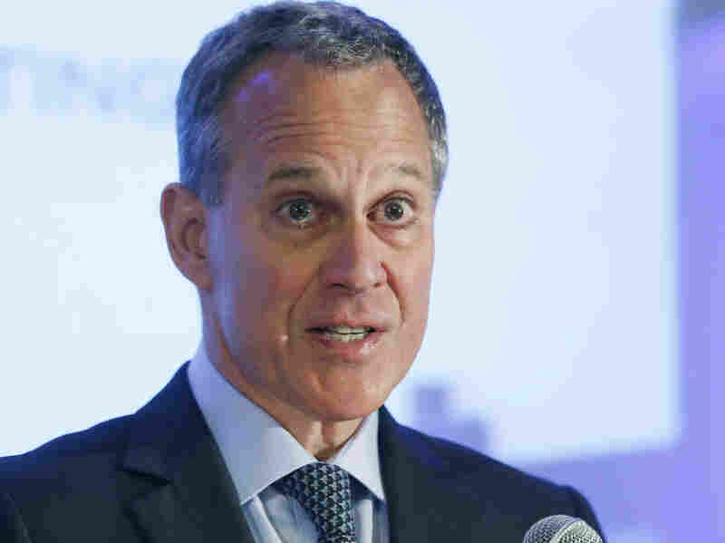 New York state Attorney General Eric Schneiderman, pictured during a speech last year, says Peabody Energy misled investors when it insisted it couldn't predict the impact of climate change regulation.