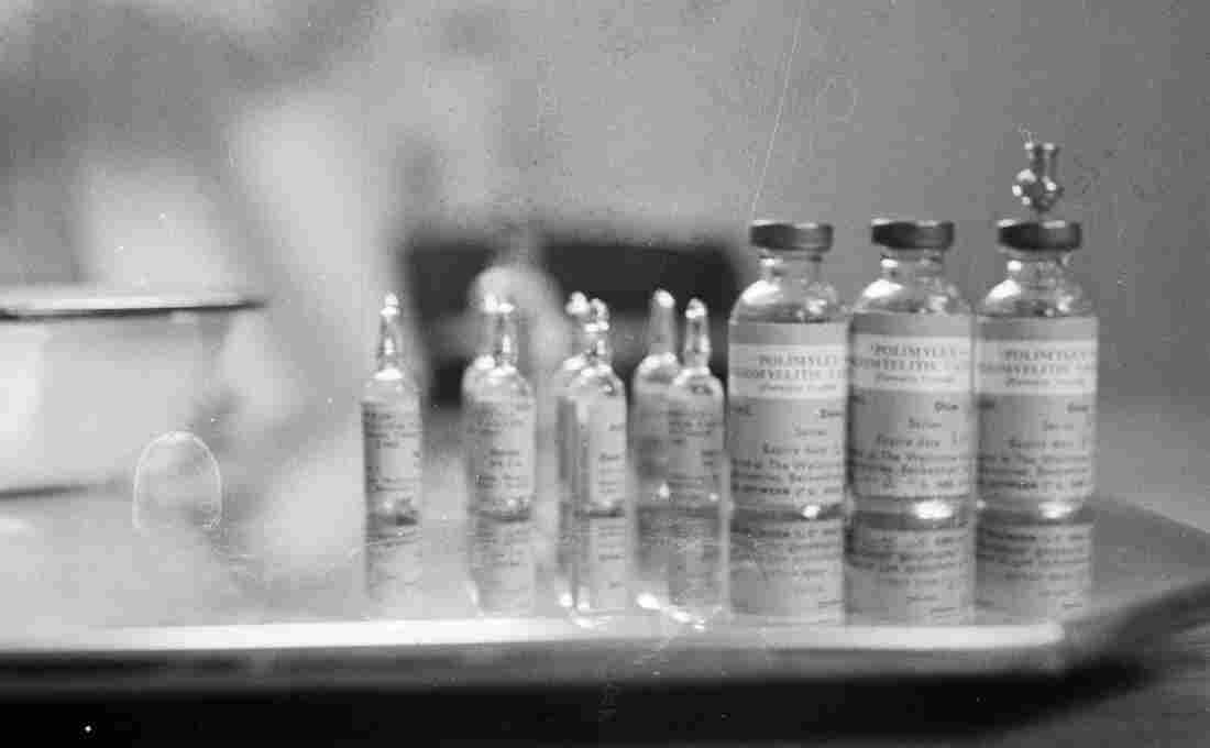 April 1959: Bottles containing the polio vaccine.