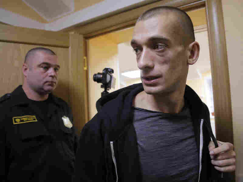 Russian performance artist Pyotr Pavlensky (right) is pictured during a court appearance earlier this year in St. Petersburg, Russia.