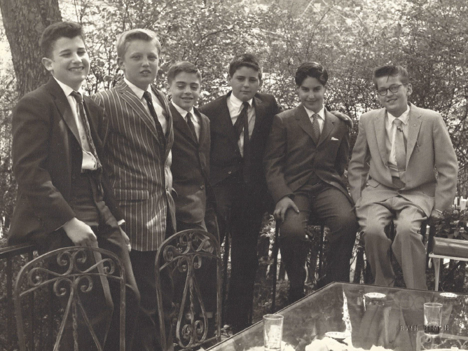 Trump (second from left) and grade school classmate Paul Onish (second from right) got into trouble together constantly — talking out of turn during class, passing notes and throwing spitballs.
