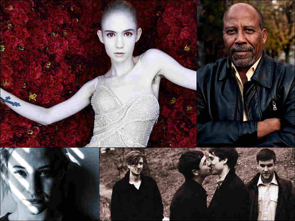 Clockwise from upper left: Grimes, Hailu Mergia, Money, Many Rooms