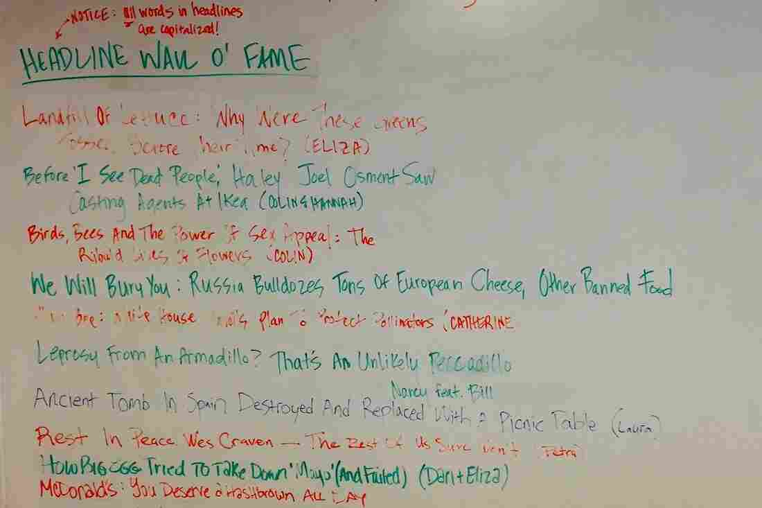"""NPR's digital news team celebrates great headlines and their authors with a """"Wall O' Fame"""" in the newsroom."""