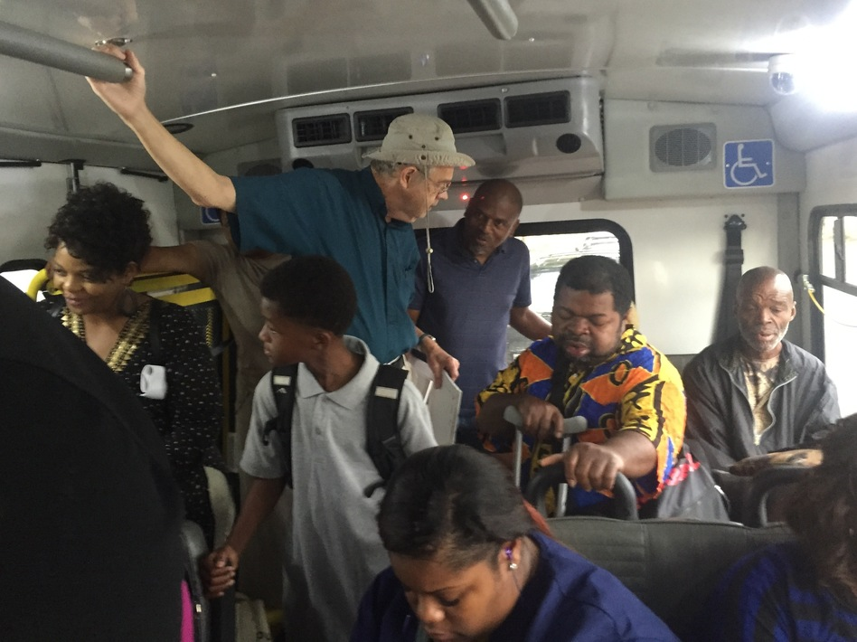 Riders stand in a crowded bus in Montgomery, Ala. Sixty years after the historic Montgomery bus boycott, many of the city's residents say the system doesn't work for them.