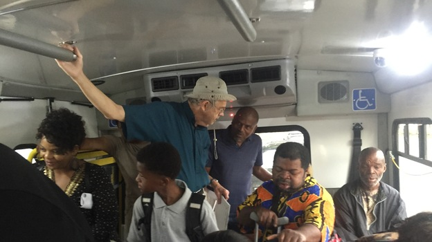 Riders stand in a crowded bus in Montgomery, Ala. Sixty years after the historic Montgomery bus boycott, many of the city's residents say the system doesn't work for them. (NPR)