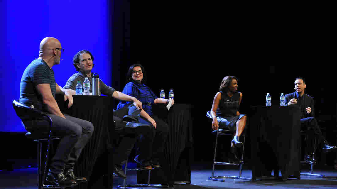 Left to right: Pop Culture Happy Hour's Glen Weldon, Stephen Thompson, Linda Holmes and Audie Cornish, plus special guest Fred Armisen.