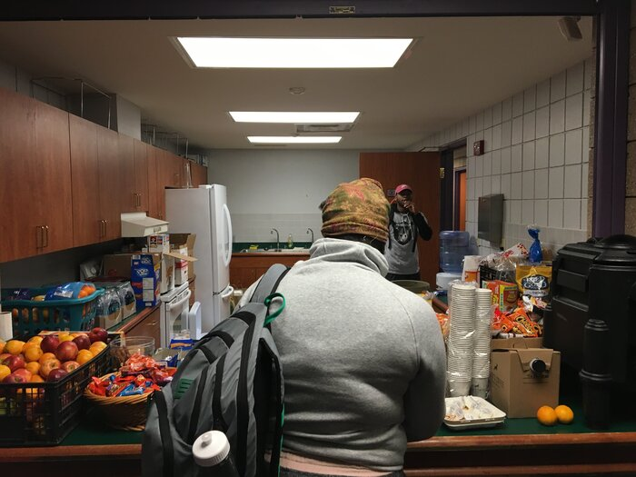 Students snacked on donated food.(Adrian Florido/NPR)