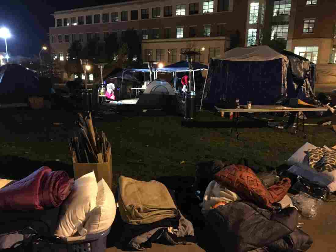By Tuesday night, students had broken down the small tent city that had served as the center of protest.