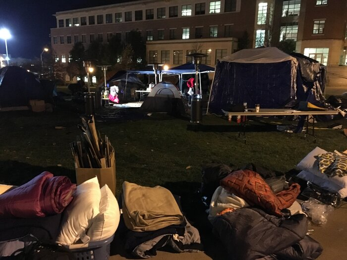 By Tuesday night, students had broken down the small tent city that had served as the center of protest. (Adrian Florido/NPR)