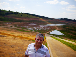 Francisco Carlos Fonseca is the manager of Marina Confiança, a resort located on the banks of the Cantareira reservoir system. Behind him is a boat ramp that once led to a lake that he says used to be more than 100 feet deep.
