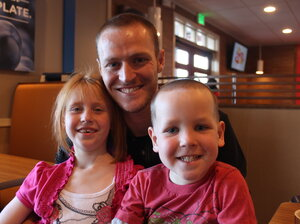 Todd Unsicker-Montoya, with his children, Janice and Trevor Unsicker.