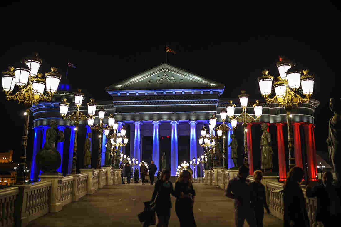 The Museum of Archaeology of Macedonia and Constitutional Court in Skopje, Republic of Macedonia.